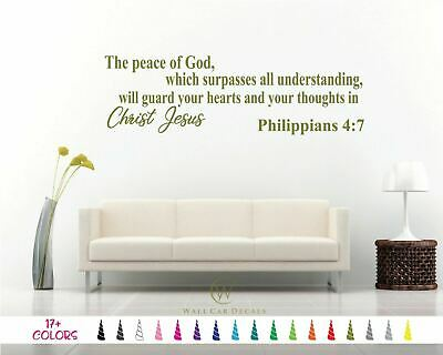 PHILIPPIANS 4:7 BIBLE Verse Wall Decal Christian Lord God Art Vinyl Quote  Decor
