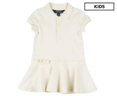 NWT Ralph Lauren Girls Cotton Velour Bow Polo Dress Ivory
