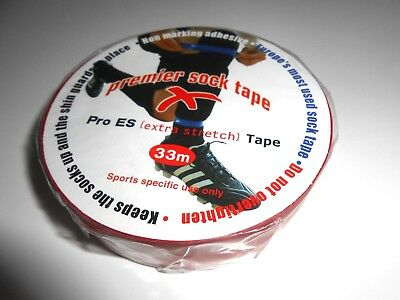 Premier Pro ES Football/Rugby Sock Tape 33m Roll Red