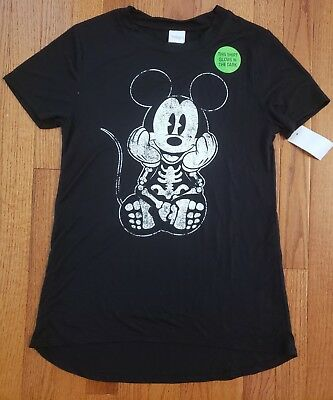 f7d77ecd Disney Mickey Mouse Halloween Skeleton Black Tee Shirt Womens Junior XS SM M