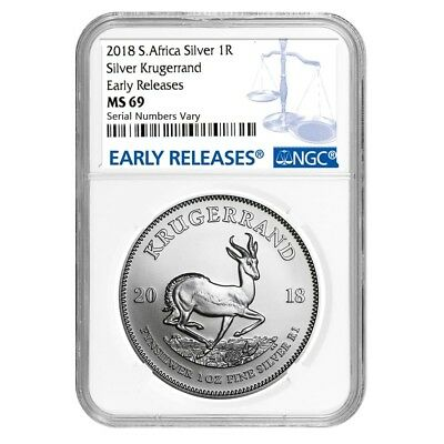 Sale Price - 2018 South Africa 1 oz Silver Krugerrand NGC MS 69 Early Releases