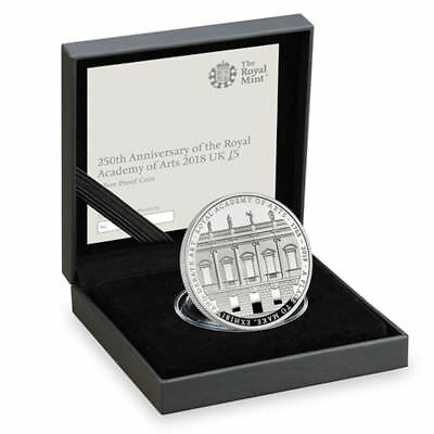 """2018 United Kingdom (UK) £5 Silver Proof Coin """"Royal Academy of Arts 250 Years"""""""