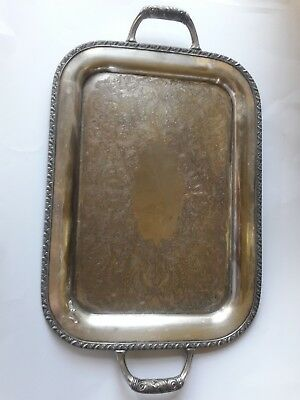 Serving Tray Silver Plated Pattern Nice Detail