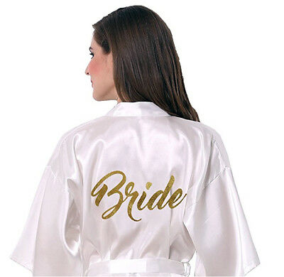 Wedding Bridal Party Brides Robe Gown. Personalised w/ Gold Glitter.Hens. BRIDE