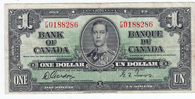 1937 Bank of Canada $1 Bank Note - F/M  Gordon / Towers