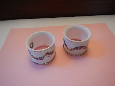 2 Caverswell English Bone China Napkin Rings M Grant White w Flower Garland