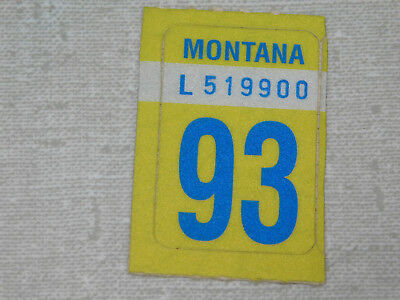 1993 Montana passenger car license plate sticker