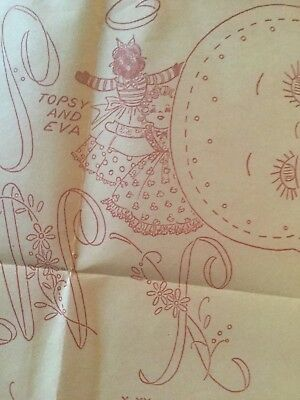 TOPSY-TURVY DOLL Vintage Iron on Embroidery Transfer 1950 Rick Rack Quilt