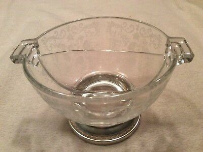 Antique Split Nut Candy Cut Glass Dish With Sterling Silver Base