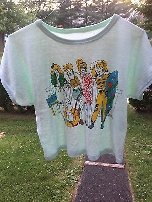 vintage 80s GLAM ROCK soft PUGLIESI thin American Look Crop Top Shirt 1987 punk