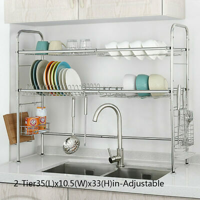 Stainless Steel Dish Rack Over Sink Bowl Shelf Organizer Nonslip Cutlery Holder
