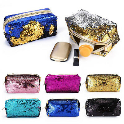 c7d5affd0367 GIRL MERMAID SEQUIN Pencil Case Cosmetic Makeup Coin Pouch Storage Zip  Purse Bag