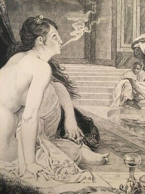 Antique 1888 Smoking Nude Woman Seated With Food Exotic French Art Print