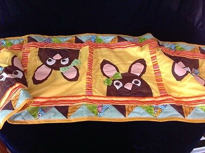"""Handmade Quilted EASTER Rabbits  Bunnies At Widest 17"""" X 74"""" Long TABLE RUNNER"""