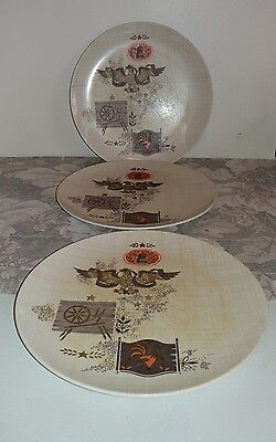 "Vtg Texas Ware Melamine Park Avenue 10"" R Copper Eagle Plates / Set of 3"