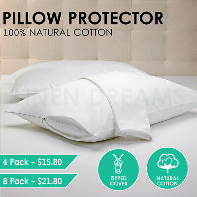 2x / 4x / 8x Natural Cotton Cover Pillow Protector Zip Closure Standard Case