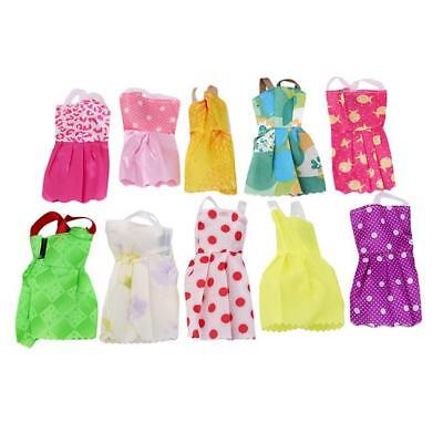 10 Pcs Doll Dress Wedding Party Mini Gown Fashion Clothes For Barbie FW