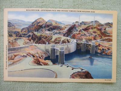 Vintage Post Card Linen BOULDER DAM UPSTREAM FACE AND INTAKE TOWERS FROM AZ SIDE
