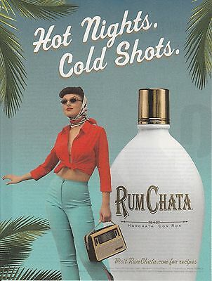 "MINT Rum Chata liquor print ad  ""Hot Nights.  Cold Shots.  Gorgeous woman"