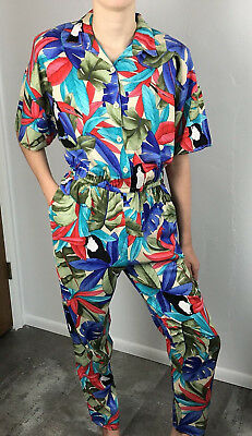 Vintage 80s Womens Tropical One Piece Jumpsuit California Krush Size Small