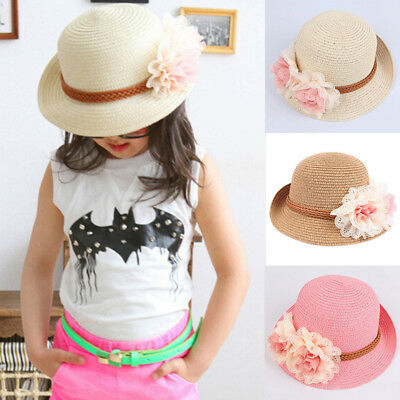 Toddlers Infants Baby Girls Summer hats Straw Sun Beach Hat for Cap 2-7Year UK