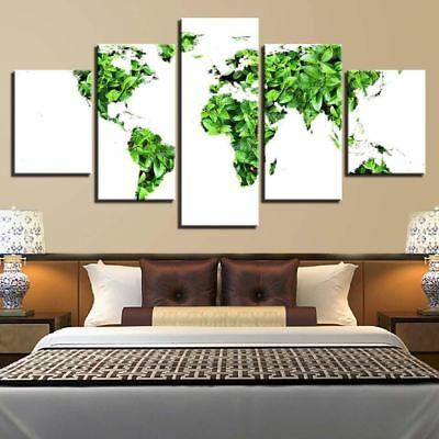 World Map In Leaves 5 Panel Canvas Print Wall Art