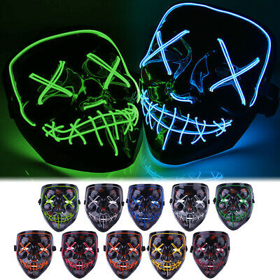 Halloween LED Glow Mask EL Wire Light Up The Purge Movie Costume Party +Battery