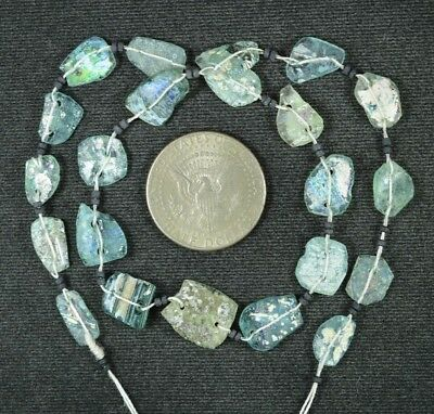Ancient Roman Glass Beads 1 Medium Strand Aqua And Green 100 -200 Bc 941
