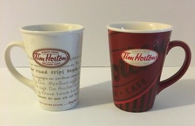 Tim Hortons Limited Edition Set Of 2  Red And White Coffee Mug Cup #008 And #009