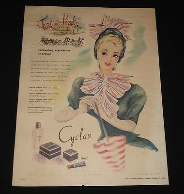 CYCLAX MAKE UP FESTIVE PINK 1940s FULL PAGE COLOUR PRINT  AD ORIGINAL