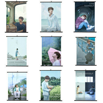 Kpop BTS Bangtan Boys Love Yourself Hanging Painting Art Wall Scroll Poster UK