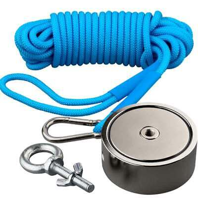 300KG*2 Double Side Neodymium Fishing Salvage Magnet With Rope Recovery Lifting