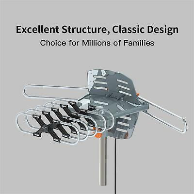 TV Antenna 150Mile Amplified Outdoor HDTV 1080P Digital 360 Rotating With Pole