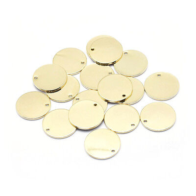 10x Gold-Filled Brass Tag Pendants Smooth Stamping Blank Nickel Free Charms 16mm