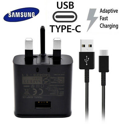 For Samsung Galaxy S8 S9 + Phone Fast Charger UK Plug/USB C Type Charger Cable