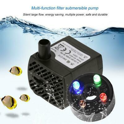2W/5W Submersible Water Pump with LED Light Aquarium Pond Hydroponics Fountain
