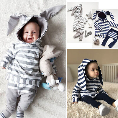 Newborn Baby Boys Girl Long Sleeve Hooded Shirt Tops+Pants Clothes Outfit Set