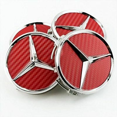 4x 75mm for MERCEDES Red Carbon Wheel Center Caps Wheel Hub Badge Emblem