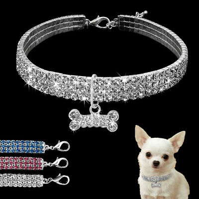 Crystal Dog Necklace Collar Rhinestone Jeweled Puppy Necklace Pets Dogs Diamante