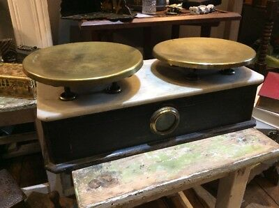 Antique French Pine Brass And Marble Shop Scales Kitchen Etc A Bit Special