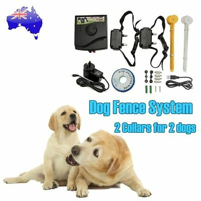 Waterproof 2-Dogs Hidden Electric Dog Fence System Electronic Fencing Collars AU