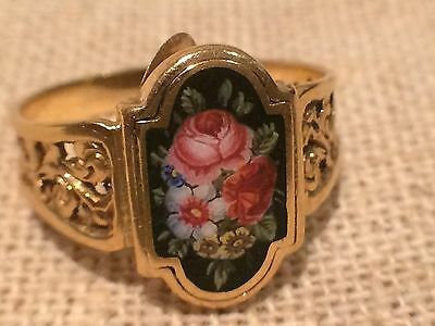 Empire Poison/ Gift Ring/ 585 Gold/Emaille-Malerei/ Limoges, Frankreich 1780