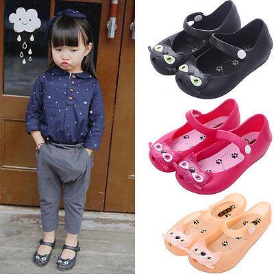 Toddler Girls Jelly Cartoon Cute Cat Sandals Baby Shoes Soft Comfy Chubby Ankle