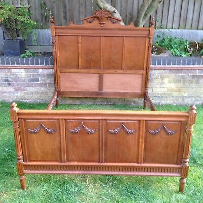 Antique Victorian French Bed frame Oak Carved Double Old Vintage Empire