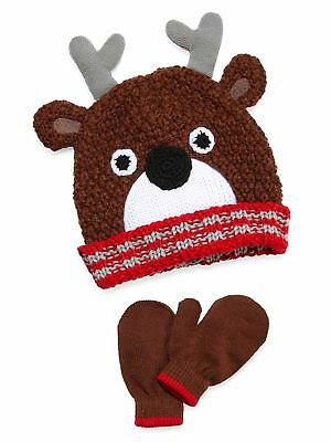 Oxygen Little Boys Knit Hat and Mittens Set - Brown Reindeer - Size 4-7