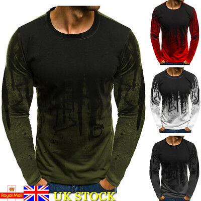 Mens Camo Camouflage Long Sleeve Basic Tee Slim Fit Tops Casual T-Shirt Blouse