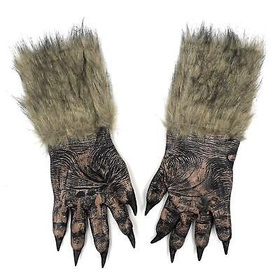 Adults Big Bad Wolf Werewolf Claws Gloves Paws Pair Halloween Fancy Dress Hands