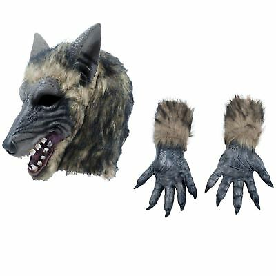 Adults Werewolf Wolf Grey Fairytale Halloween Mask Claws Gloves Costume Kit