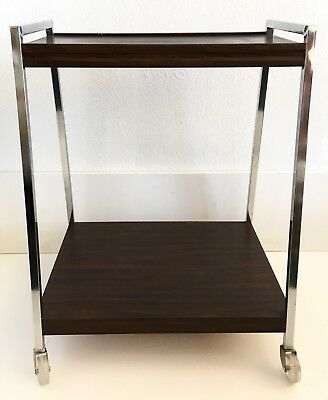 Vintage MCM Cart 2 Tier Rolling Chrome Metal Wood Grain Bar TV Record Stand