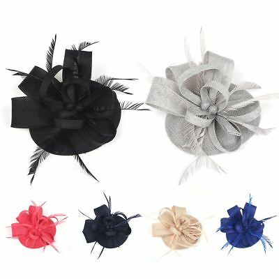 Ladies Sinamay Feather Elegant Fascinator Royal Ascot Races Headpiece